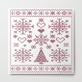 Christmas Cross Stitch Embroidery Sampler Pink And White Metal Print