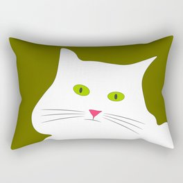 White cat on the green grass Rectangular Pillow