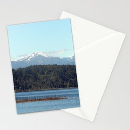 The New  Zealand Alps over a lake Stationery Cards