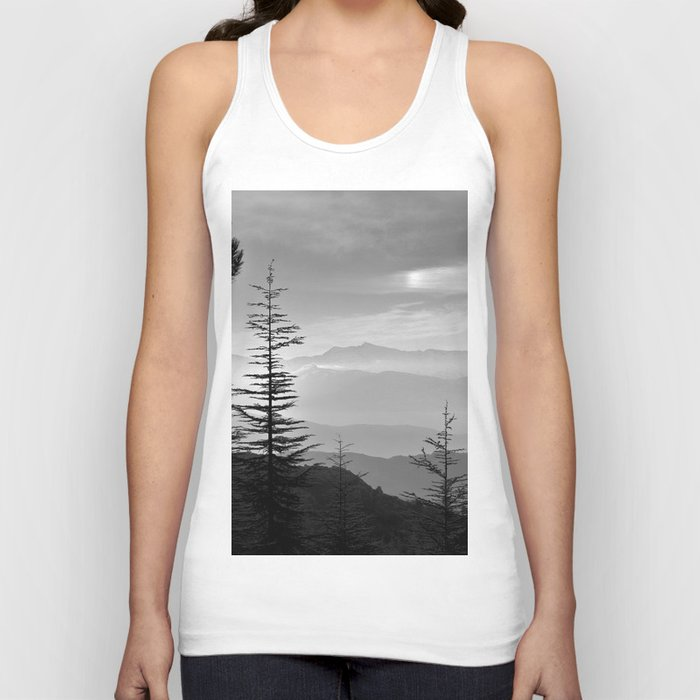 Rainbow clouds at the mountains at sunrise. BW Unisex Tanktop