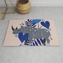 Sumatran Rhino – Blue & Grey Rug