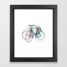 Artistic modern pink teal abstract bicycles art Framed Art Print