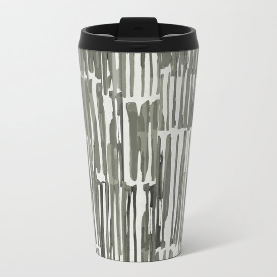 Simply Bamboo Brushstroke Green Tea on Lunar Gray Metal Travel Mug