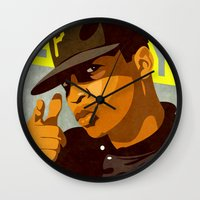 chuck Wall Clocks featuring Chuck D by Kim Hoffnagle