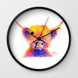 Scottish Highland Cow ' HOOTIE ' by Shirley MacArthur Wall Clock
