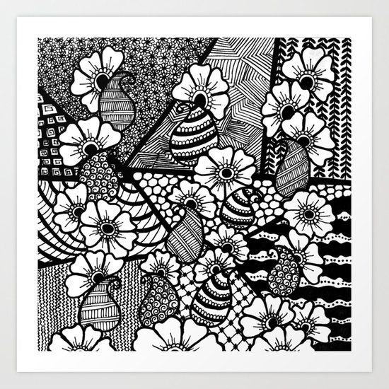 zentangle and flowers Art Print