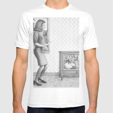 Girl with TV White MEDIUM Mens Fitted Tee