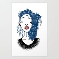 kiss/blue.  Art Print