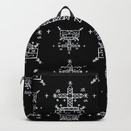 Baron Samedi Voodoo Veve Symbols in Black Backpack