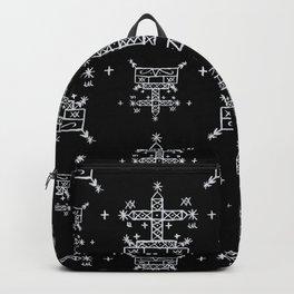 Baron Samedi Voodoo Veve Symbols in Black Backpack