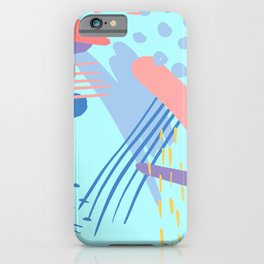 minimalist abstract painting colorful aqua blue mint purple pink pastel   iPhone Case