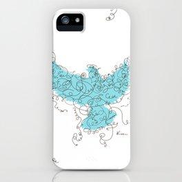 Bird Fly 3 - Aqua/Brown iPhone Case