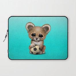 Lion Cub With Football Soccer Ball Laptop Sleeve