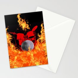 Flaming Red Drum Set Stationery Cards