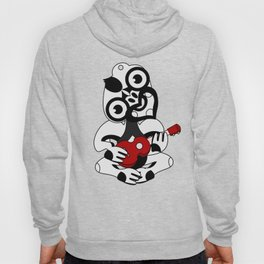 Black and Grey Hei Tiki playing a Ukulele Hoody