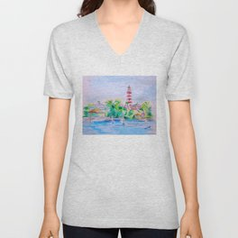 Elbow Reef Lighthouse Hope Town, Abaco, Bahamas Watercolor painting Unisex V-Neck