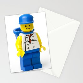 Minifig with a white shirt hat and basket Stationery Cards