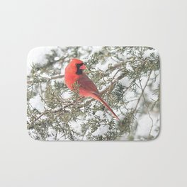 Cardinal on a Snowy Cedar Branch (sq) Bath Mat