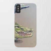crocodile iPhone & iPod Cases featuring Crocodile by Jeanne Hollington