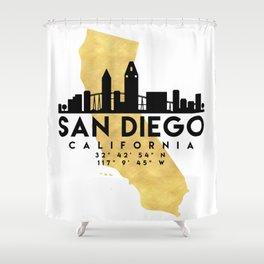 SAN DIEGO CALIFORNIA SILHOUETTE SKYLINE MAP ART Shower Curtain