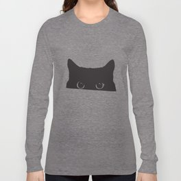 Black Cat Hiding Playing Big Eyes Vest Tank Top Men Illuminati T-Shirts Long Sleeve T-shirt