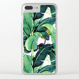 Tropical Banana leaves pattern Clear iPhone Case