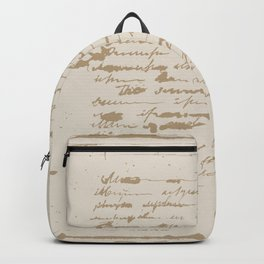 Vintage Square.  Unreadable letter. Backpack
