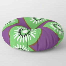 Bright Purple and Green Kiwifruit Pattern Floor Pillow