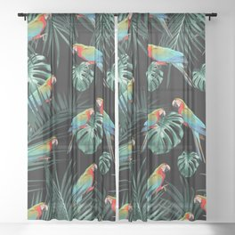 Parrots in the Tropical Jungle Night #2 #tropical #decor #art #society6 Sheer Curtain