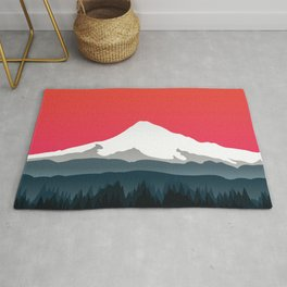 Mount Hood Winter Forest - Sunset Rug