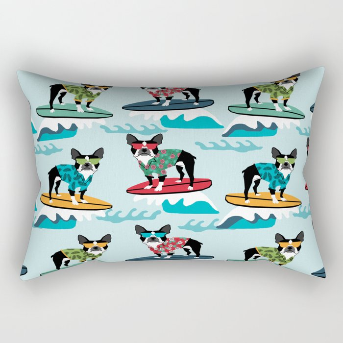 Boston Terrier surfing pattern cute pet gifts dog lovers boston terriers Rectangular Pillow