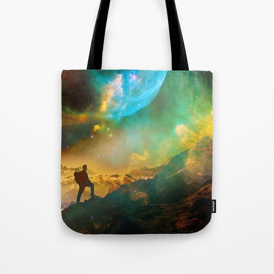Vibrant Space Hiker Tote Bag