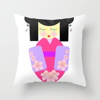 sakura Throw Pillows featuring Sakura by Sreetama Ray
