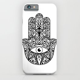 New Age Henna Pattern Zen Vegan Yoga Symbol Namaste Hand of Fatima  iPhone Case