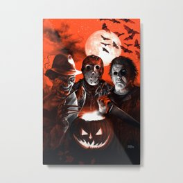 Freddy Krueger Jason Voorhees Michael Myers Super Villians Holiday Metal Print