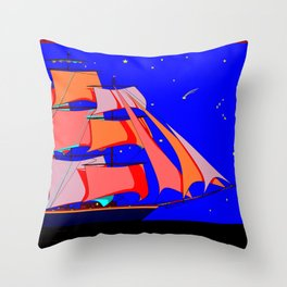 A Clipper Ship at Sea Full Sail at Night under the Stars Throw Pillow