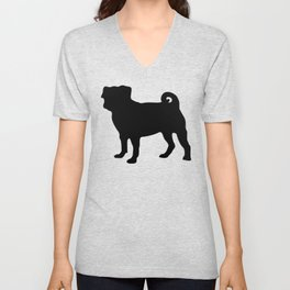 Simple Pug Silhouette Unisex V-Neck