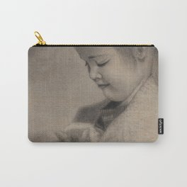 Girl Playing with Cat - in Charcoal Carry-All Pouch