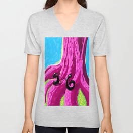 S & 6 Contemplate - With Determination - The Audacity of Climbing the Giant Magic Pink Tree Unisex V-Neck