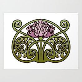 Nouveau Thistle Art Print