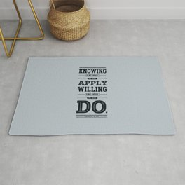 Lab No. 4 Knowing Is Not Enough Johann Wolfgang Von Goethe Motivational Quote Rug