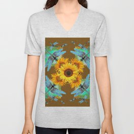 MODERN SUNFLOWERS BLUE DRAGONFLIES BROWN ABSTRACT Unisex V-Neck