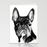 french bulldog Stationery Cards featuring French Bulldog by James Peart