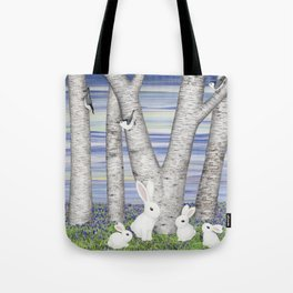 nuthatches, bunnies, and birches Tote Bag