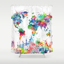 world map watercolor collage Shower Curtain
