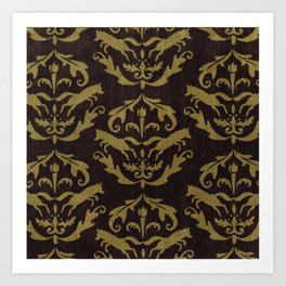 Fox Damask Art Print