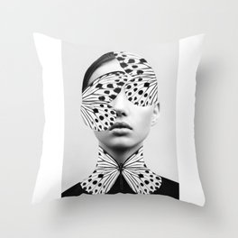 Woman Butterfly Throw Pillow