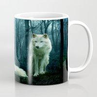 wolves Mugs featuring Wolves by Julie Hoddinott