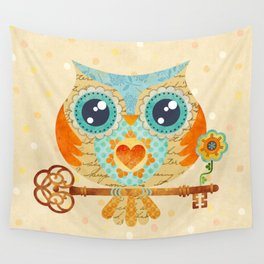 Owl's Summer Love Letters Wall Tapestry