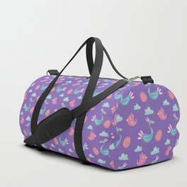 Modern green pink violet hand drawn birds pattern Duffle Bag